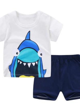 Летний повседневный костюм для новорожденных футболка и шорты комплект мальчиков и девочек