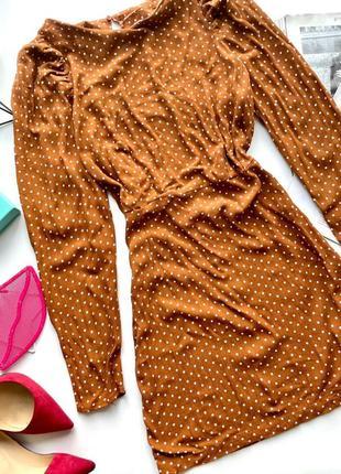 👗коричневое платье в горошек длинный рукав/закрытое жёлто-коричневое короткое платье в горох👗
