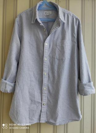 Брендовая хлопковая рубашка в полоску