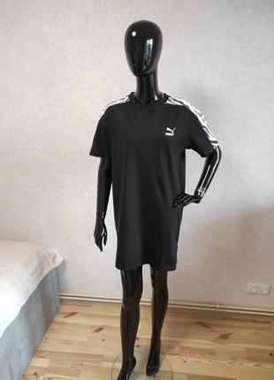 Платье черное оверсайз спортивное