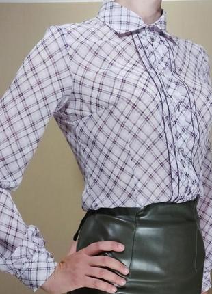 Блуза рубашка шифон клетка в офис