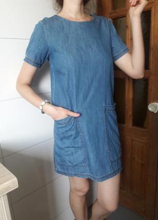 Джинсовое платье с коротким рукавом джинсова сукня синее котоновое размер s mango