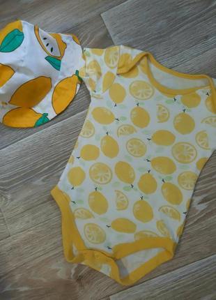 Комплект боди и панамка с лимонами
