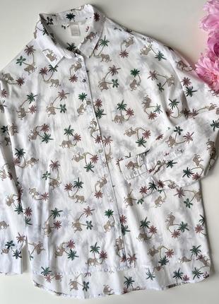 Легкая рубашка оверсайз в тропический принт