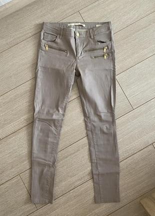Штаны бежевые кожаные