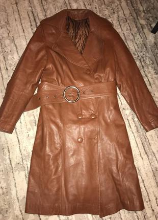 Кожаное пальто френч