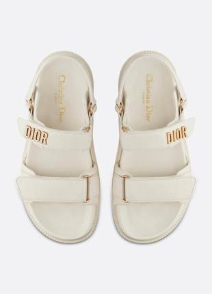 Женские кожаные босоножки сандалии dior sandals white ( premium ) белого цвета