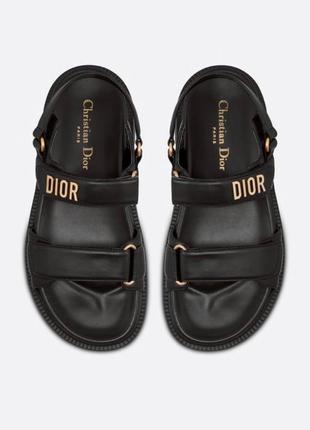 Женские кожаные босоножки сандалии dior sandals black ( premium ) черного цвета