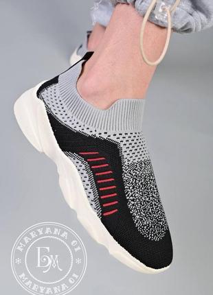 Удобные летние кроссовки без шнуровки / серые