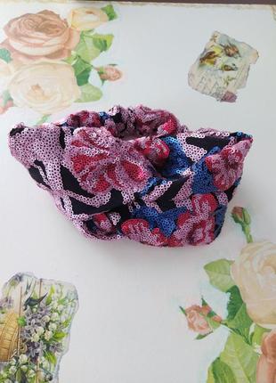 Роскошная повязка для волос чалма ободок повязка на голову обруч тюрбан усыпанная пайетками