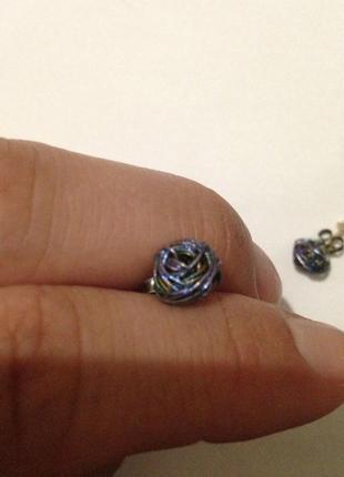 Креативные серебряные сережки гвоздики пуссеты круглые интересные