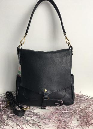 Сумка кожаная женская с длинной ручкой на плечо genuine leather италия, сумка шкіряна жіноча, чорна