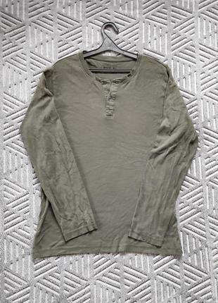 Хлопковый лонгслив цвета хаки, футболка с длинным рукавом