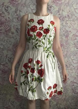 Платье нарядное цветочный принт oasis xs s