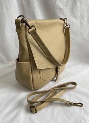 Сумка кожаная женская с длинной ручкой на плечо genuine leather италия, сумка шкіряна жіноча, бежева