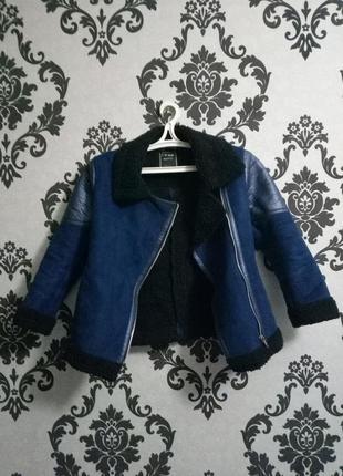 Шикарная синяя дубленка- косуха с кожаными вставками