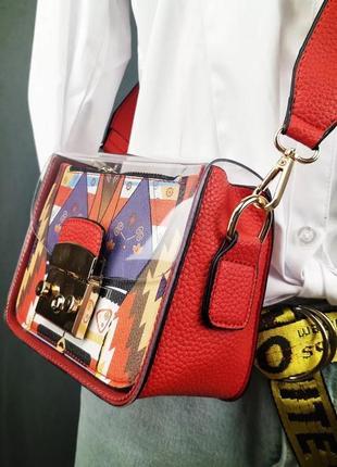Женская прозрачная сумка, яркий принт, кросс-боди, широкий ремень через плечо,красная