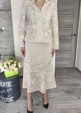Костюм женский бежевый  - юбка и пиджак(1003)