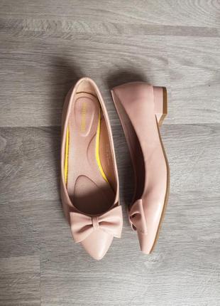 Нюдовые туфли балетки лодочки 37