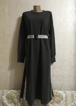 Стильное повседневное платье с рукавами в спортивном стиле большой размер 64