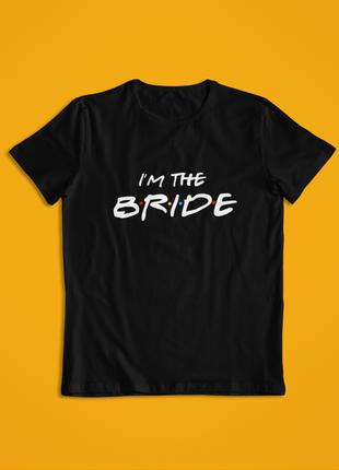 Женская футболка черная на девичик, я невеста