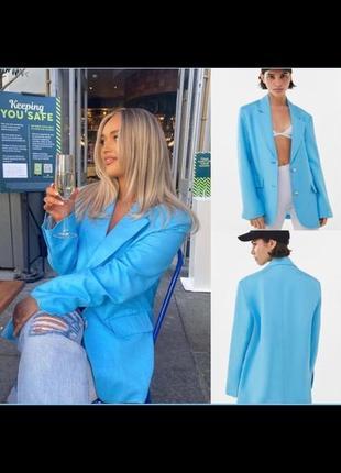 🛍 новый голубой пиджак bershka с биркой 👚размер м