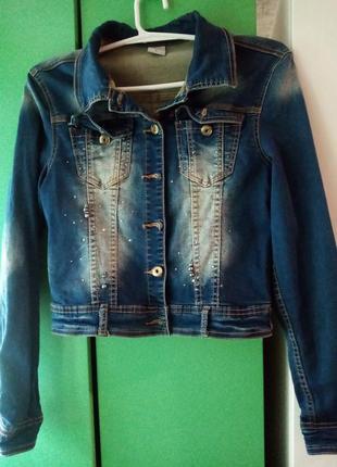 Пиджак джинсовый в стразах