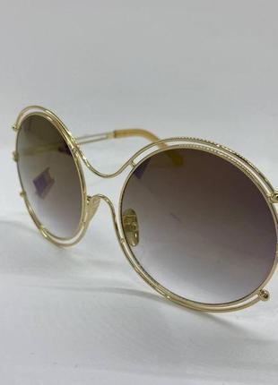 Женские солнцезащитные очки с круглыми большими линзами коричневыми градиент в металлической оправе