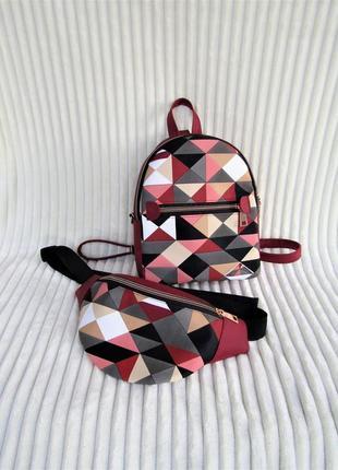 Бордовый принтовый набор 2в1 (рюкзак + бананка) handmade