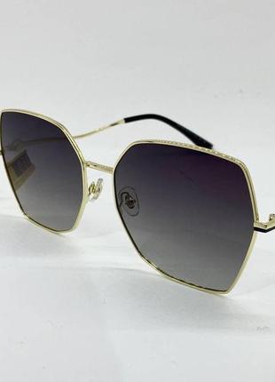 Женские солнцезащитные очки в тонкой металлической оправе серые линзы с градиентом и поляризацией