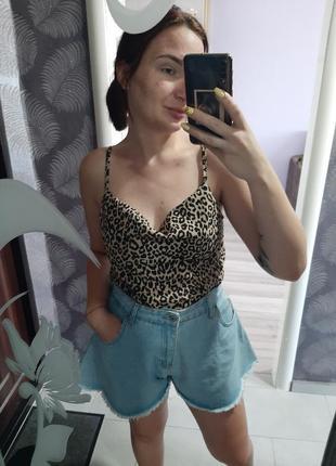 Леопардовый топ майка в бельевом стиле
