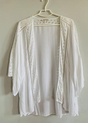 Кимоно белое кремовое вискоза хлопок вышивка