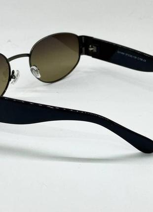 Солнцезащитные очки овальные серо-зеленые линзы с поляризацией с пластиковыми широкими дужками5 фото