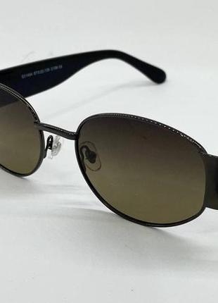 Солнцезащитные очки овальные серо-зеленые линзы с поляризацией с пластиковыми широкими дужками4 фото