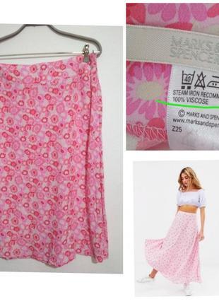 Роскошная фирменная винтажная натуральная лёгкая юбка миди трапеция вискоза супер качество!