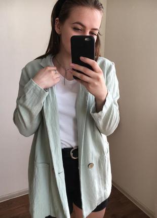 Пиджак длинный из льна, нежно-бирюзовый, мятный