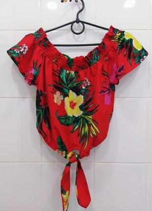 Милая шифоновая блуза топ на плечи