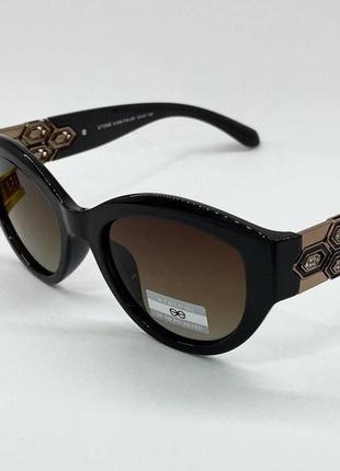 Женские солнцезащитные очки с поляризацией в коричневой оправе с линзами градиент