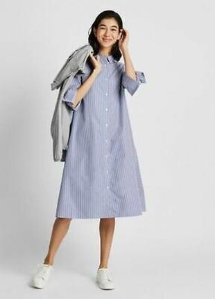 Стильное платье-рубашка uniqlo с карманами, хлопок