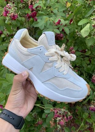 Женские стильные летние кроссовки new balance 327 beige grey