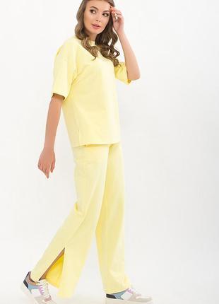 Женский летний брючный костюм для ежедневной носки хлопок эластан желтый лавандовый мятный xs s m l xl
