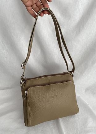 Сумка кожаная на длинном ремешке на плечо коричневый тауп бежевый сумка жіноча шкіряна vera pelle