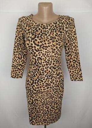 Платье стильное трикотажное по фигуре в тигровый принт h&m uk 8/36/xs