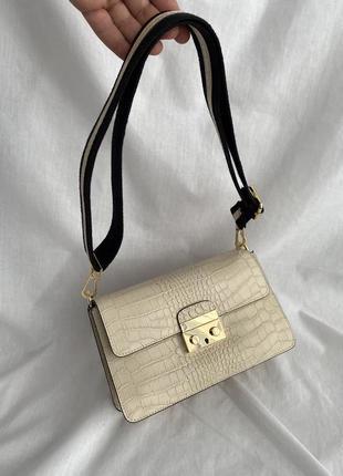 Сумка кожаная на длинном ремешке сумка жіноча шкіряна бежева, vera pelle