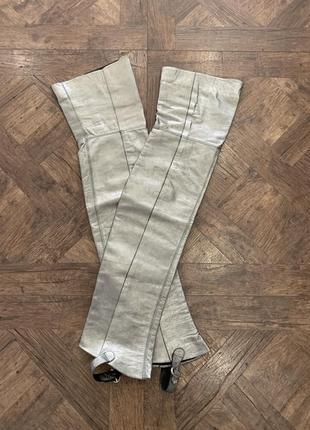 Кожаные чулки-ботфорты цвета металлик, размер onesize, италия, кожа
