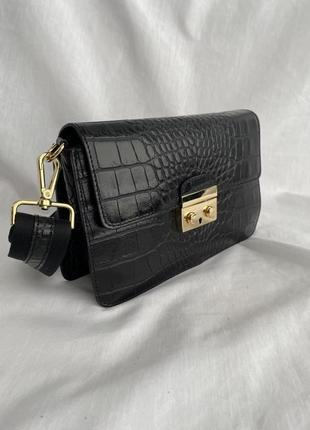 Сумка кожаная на длинном ремешке сумка жіноча шкіряна чорна рептилия  vera pelle