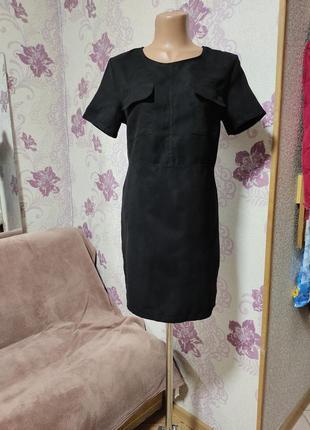 Чёрное платье экозамш, р-р 42-44. ravi famous.