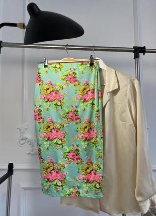 Хлопковая юбка-миди в цветы