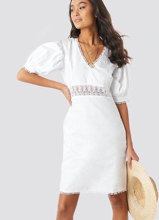 Очень красивое белое хлопковое летнее платье с объёмными рукавами