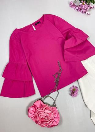 Блуза с  рукавами - воланами цвета фуксии reserved